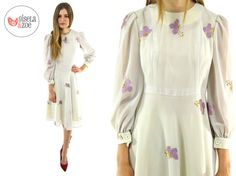 60s Butterfly Embroidered Chiffon Dress ΔΔ by giselaandzoevintage