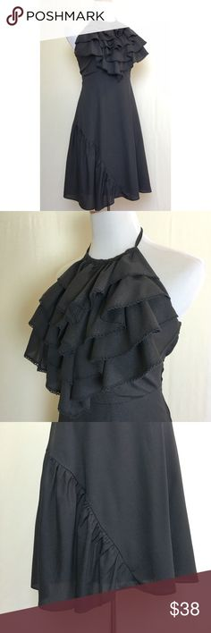 Saucy little black dress Miss Sixty halter LBD with ruffled front and diagonal ruffle down one side of skirt. Excellent like new condition. Miss Sixty Dresses