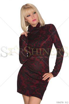 Hot Print Burgundy Dress