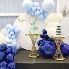 Baby Shower Purple, Gold Baby Showers, Balloons Galore, Birthday Decorations, Table Decorations, Balloon Cake, Blue Balloons, Cake Table, Shades Of Blue