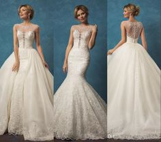 Lace Wedding Dresses with Mermaid Two Pieces Detachable Skirt Sheer Beaded Scoop Neck Button Back Overskirts Wedding Gowns