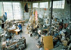 """The studio of Alexander """"Sandy"""" Calder - sculptor and artist. Photo by Pedro E. Guerrero, an amazing photographer...Image from http://www.archpaper.com/uploads/guerrero_03.jpg."""