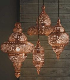 PHOTOS: 17 Gorgeous Outdoor Lighting Options Bright Copper Moroccan Hanging Lamp - Candles & Lights - Home Accessories - VivaTerra Moroccan Lighting, Moroccan Lamp, Moroccan Lanterns, Moroccan Style, Outdoor Lighting, Moroccan Bedroom, Turkish Lamps, Moroccan Chandelier, Lighting Ideas