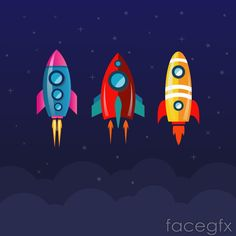 collecte - Space and Astronomy Space Party, Space Theme, Vector Graph, Vector Art, Rockets For Kids, Rocket Design, Retro Rocket, Space Illustration, Ecole Art