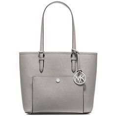 Michael Michael Kors Jet Set Medium Crosshatch Leather Tote ($149) ❤ liked on Polyvore featuring bags, handbags, tote bags, pearl grey, structured leather tote, gray leather purse, handbags totes, tote handbags and grey leather handbag
