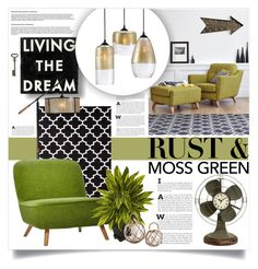 """""""Moss Green and Rust"""" by lenochca ❤ liked on Polyvore featuring interior, interiors, interior design, home, home decor, interior decorating, Dot & Bo, Threshold, Sitka and Moooi"""