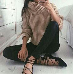sweater black flats cute chic fashion street style casual tan knit grey white beige brown blonde hair streetstyle jeans leather faux leggings classy all black everything knitwear brunette turtleneck fall outfits winter outfits spring outfits urban