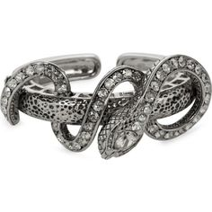ROBERTO CAVALLI Silver snake cuff ($675) ❤ liked on Polyvore featuring jewelry, bracelets, silver, roberto cavalli, silver bangles, cuff bangle, silver jewellery and roberto cavalli jewelry