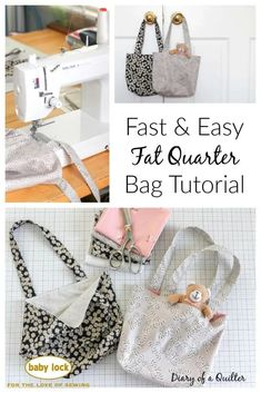 Fast and Easy Fat Quarter Bag Tutorial from Diary of a Quilter Easy Sewing Patterns, Bag Patterns To Sew, Easy Sewing Projects, Sewing Projects For Beginners, Sewing Tutorials, Tutorial Sewing, Bag Tutorials, Sewing Ideas, Crochet Patterns
