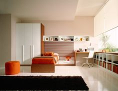 Home Design Inspiration to Apply: Lovely Home Interior Design Inspiration With Corner Wooden Desk And Wall Mounted Book Case Ideas ~ rudedo. Teenage Girl Bedroom Designs, Teen Room Designs, Teenage Girl Bedrooms, Teenage Room, Kids Room Design, Girls Bedroom, Bed Designs, Teen Rooms, Bedroom Red
