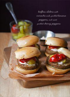 VEGAN SLIDERS | gardein beefless sliders, vegan butter, vegenaise, sriracha, banana peppers, sweet cherry peppers, vegetable oil, salt & pepper