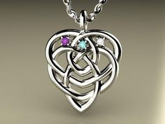 Three Birthstone Celtic Knot Motherhood Pendant by Christopher Michael