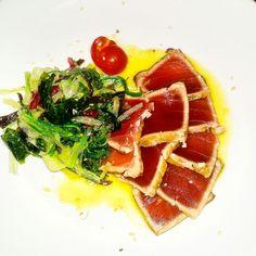 Tuna, seaweed, lemon and oliveoil. Thunfisch, Meeresalgen, Zitronen-Olivenöl