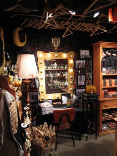 Check out the details in their Halloween Displays. Backstage at the Blackstone Theater- Dressing Rooms- Halloween 2011 #RogersGardensHalloween