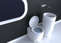 Eco-bathroom by Michael Passos - stores water used in sink to be used later to flush toilet.