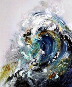 """Oil paintings of waves by Maggi Hambling: """"Early each morning I go down to the sea and try to capture its mood by drawing, and each day is different. Back in the studio, these drawings become paintings. Whether they are tiny or cover the studio wall, I try to make the movement of the waves happen in the paint."""""""