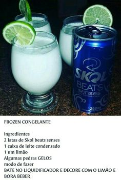* FROZEN FREEZER 2 cans of Skol beats senses 1 box of condensed milk 1 a lemon . And let& have a great time in this delicious new drunk, I already . Bar Drinks, Cocktail Drinks, Beverages, Cocktails, Alcoholic Drinks, Condensed Milk, Summer Drinks, Red Bull, Glass Of Milk