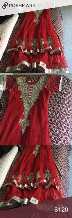 Red Indian Anarkali Dress Red dress with silver design, never worn, size small, from India Other