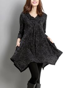 Look what I found on #zulily! Charcoal Damask Shawl Collar Handkerchief Dress #zulilyfinds