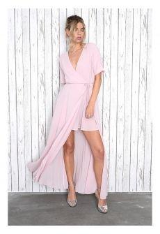Glamorous Light Pink Wrap Over Maxi Dress