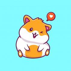 Cartoon Drawings, Animal Drawings, Hamster Wallpaper, Hamster Cartoon, Baby Animals, Cute Animals, Wallpaper Fofos, Cute Animal Memes, Doodle Art Drawing