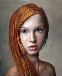 """Portrait-8-6"" - Odwin Rensen {figurative realism art redhead female beautiful young woman face portrait digital painting} 0dwin.deviantart.com"