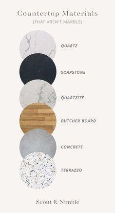 Move Over, Marble! 6 Countertop Materials to Consider for your Home Mood Board Interior, Interior Design Boards, Furniture Design, Interior Blogs, Interior Design Presentation, Kitchen Countertop Materials, Grafik Design, Terrazzo, Interior Architecture