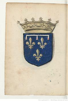 Duc d'Angoulême. Armoiries, pour la plupart coloriées, de la noblesse de France du temps de François Ier. 1535
