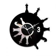 Good gift for boyfriend: Chess Wall Clock. Find best gifts from more than 10000 handpicked gift ideas.Find gifts based on relationship, occasion, personality of recipient and your mood Vinyl Record Clock, Record Art, Vinyl Records, Clock Art, Diy Clock, Giant Chess, Record Crafts, Classic Clocks, Laser Cutter Projects