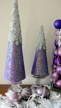 How to make snowy glitter cone tree's for Christmas décor....