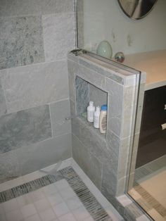 pony wall with a cubby. so smart!- for my master bath....whenever the remodel MIGHT happen in there!