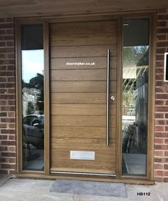 Contemporary Front Doors oak iroko and other woods Bespoke Doors - April 18 2019 at Oak Front Door, Front Door Porch, Front Porch Design, Front Door Entrance, House Front Door, Modern Entrance Door, Modern Front Door, Door Design Interior, Main Door Design