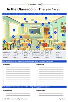 This 'In the Classroom' activity is great for learning vocabulary for objects in a classroom and for practising there is and there are.#TeachEnglish #LearnEnglish #TESOL #TESL #TEFL #ELT #ESL #EFL #TeachingEnglish #TEFLtimesavers #EnglishHandouts #EnglishWorksheets #TEFLlessonPlans #ELL #ClassroomObjectsEnglish Communication Activities, Grammar Activities, Classroom Activities, English Grammar, Teaching English, English Lessons, Learn English, Esl Resources, Online Lessons