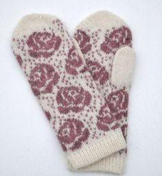 "Vante ""Rosor"" Knit Mittens, Mitten Gloves, Knitting Socks, Hand Knitting, Double Knitting Patterns, Textiles, Wrist Warmers, Wool Pillows, Fair Isle Knitting"