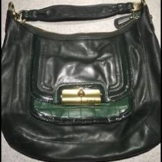 Coach Kristin Spectator Hobo Bag Gently used. Dark green leather but has a strip of patent leather and a strip of suede and crocodile pocket on the front. Gold tone hardware and zip top closure. Inside satin lined and has a zip pocket and two open pockets Coach Bags Shoulder Bags