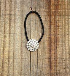 Vintage 1930s Silver Rhinestone Flower Metal Shank Button Embellished Holiday Black Elastic Hair Tie