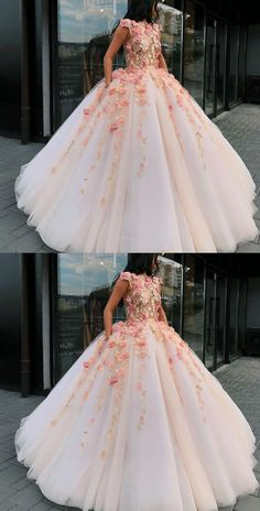 Flower Applique Prom Dresses Ball Gown, Puffy Women Quinceanera Dress, Source by mrswindress dresses Prom Dresses Ball Gown, Puffy Prom Dresses, Pretty Quinceanera Dresses, Big Dresses, Top Wedding Dresses, Quince Dresses, Wedding Dress Trends, Flower Dresses, Wedding Gowns