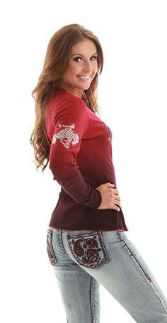 "NEW ""Cowgirl Tuff"" Dark Barn Door Red Thermal w Crystal Buckin Horse"