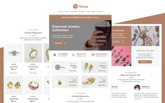 Tessa – Multipurpose Jewelry Email Template Responsive Newsletter Template Email Templates, Newsletter Templates, Responsive Email, Email Client, Fashion Templates, Email Design, Email Marketing, Custom Jewelry, Jewelry Stores