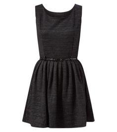 Mela Black Glitter Belted Skater Dress - Newlook