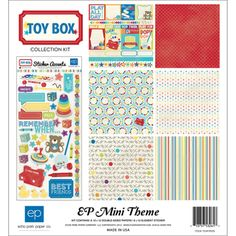 @Overstock - ECHO PARK PAPER-Toy Box Collection. This collection pack includes six sheets of 12x12 inch double-sided scrapbooking paper and one 6x12 inch sheet of Element stickers. Acid and lignin free. Made in USA.http://www.overstock.com/Crafts-Sewing/Toy-Box-Collection-Kit-12-X12/7148753/product.html?CID=214117 $8.29