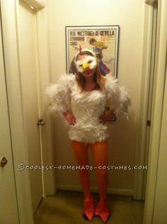 Cutest Homemade Chicken Costume for Women ..If George dresses like Col. Sanders..I have to dress like a chicken! lol -Berg