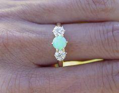 Vintage antique Opal european diamond ring. LOVE IT.