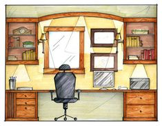 Picture - All About Decoration Interior Design Renderings, Interior Design Career, Interior Design Courses, Drawing Interior, Interior Rendering, Interior Sketch, Home Interior, Interior Architecture, Interior And Exterior