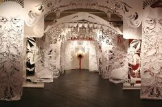 Swoon, Alison Corrie and Solovei - massive cut paper installation at Black Floor Gallery, Philadelphia.