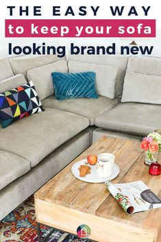 Don't let pets kids food or red wine ruin your sofa or couch. This simple DIY fabric protector tip will help you keep your upholstery clean and your sofa looking brand new year after year. Don't let pets kids Diy Furniture Projects, Diy Home Decor Projects, Decor Ideas, Ikea Furniture, Kids Decor, Diy Ideas, Room Ideas, Diy Sofa, Sofa Couch