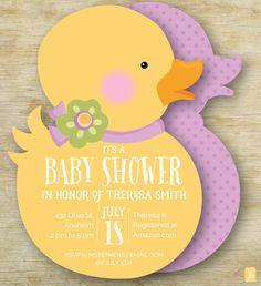 Custom Baby Shower Invitation  | Girl Rubber Ducky Personalized Die Cut Baby Invite | Custom Invite | Baby Shower Invitation
