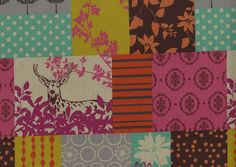Kokka Fabrics Echino Orange Forest