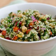 Bulgur Salad with Cucumbers, Red Peppers, Chick Peas, Lemon and Dill Recipe