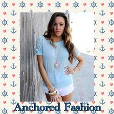 ⚓️Baby Blue Lace Tee⚓️ Lace detail back and sleeves. This shirt is baby SOFT! Tops Tees - Short Sleeve